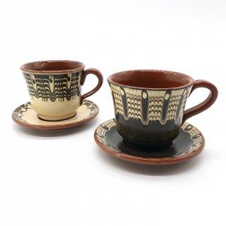 ブルガリアン陶器のカップ&ソーサー モノトーン
