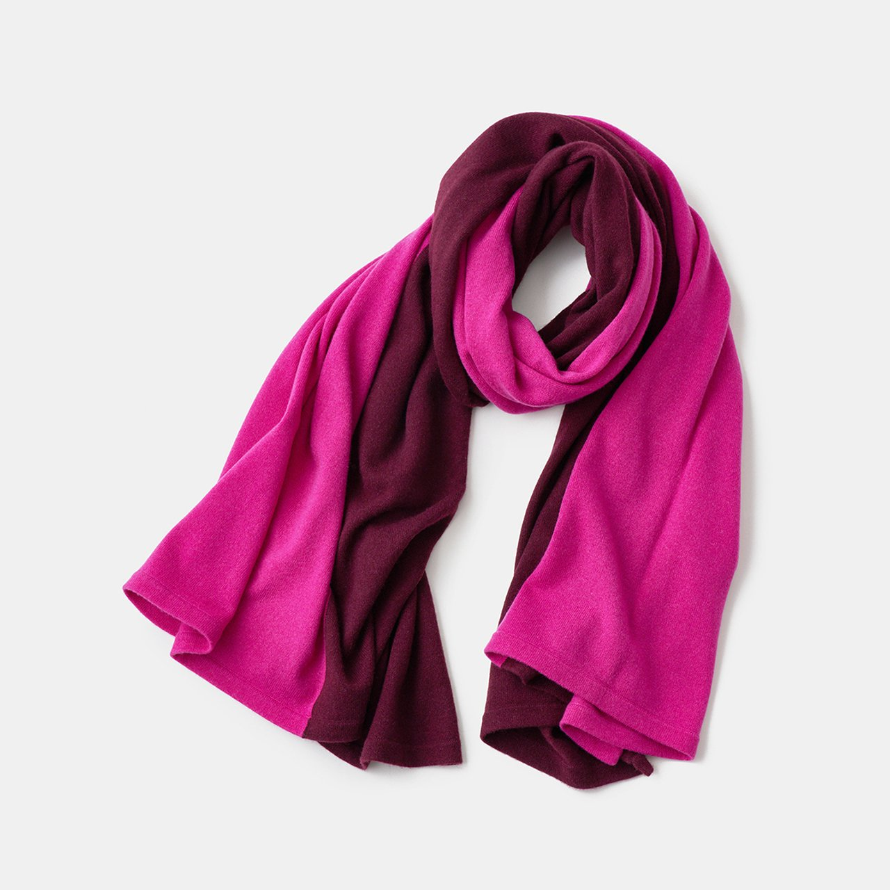 CASHMERE BI‐COLOR STOLE<BR>BURGUNDY × CHERRY PINK