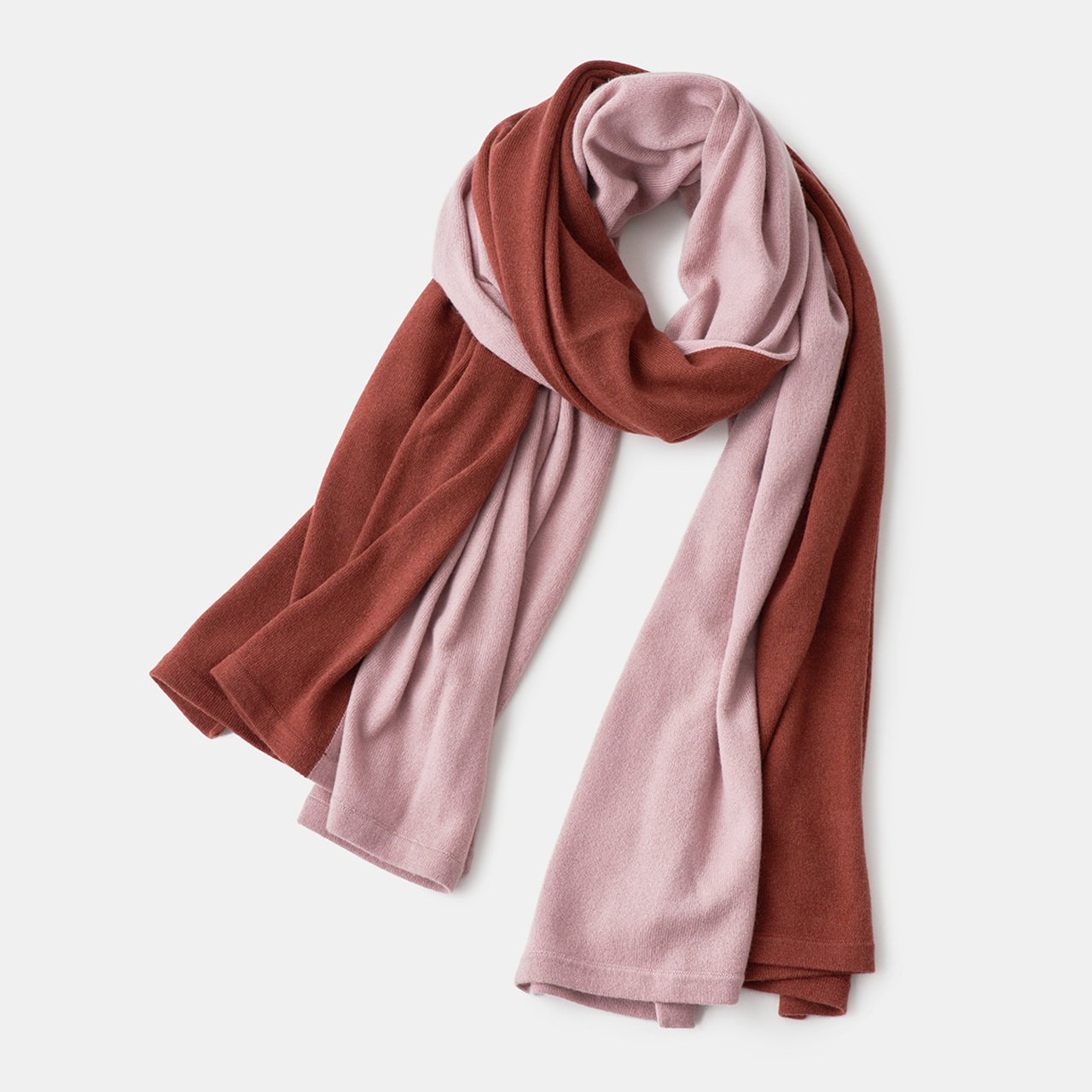 CASHMERE BI‐COLOR STOLE<BR>RED BRICK × ANTIQUE ROSE