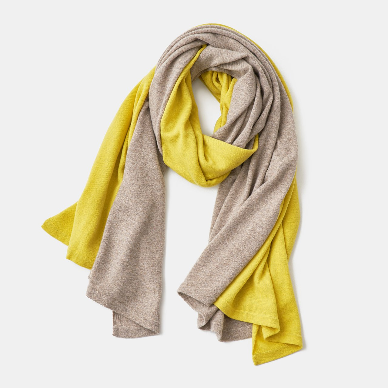 CASHMERE BI‐COLOR STOLE<BR>CHICK YELLOW × SAND BEIGE