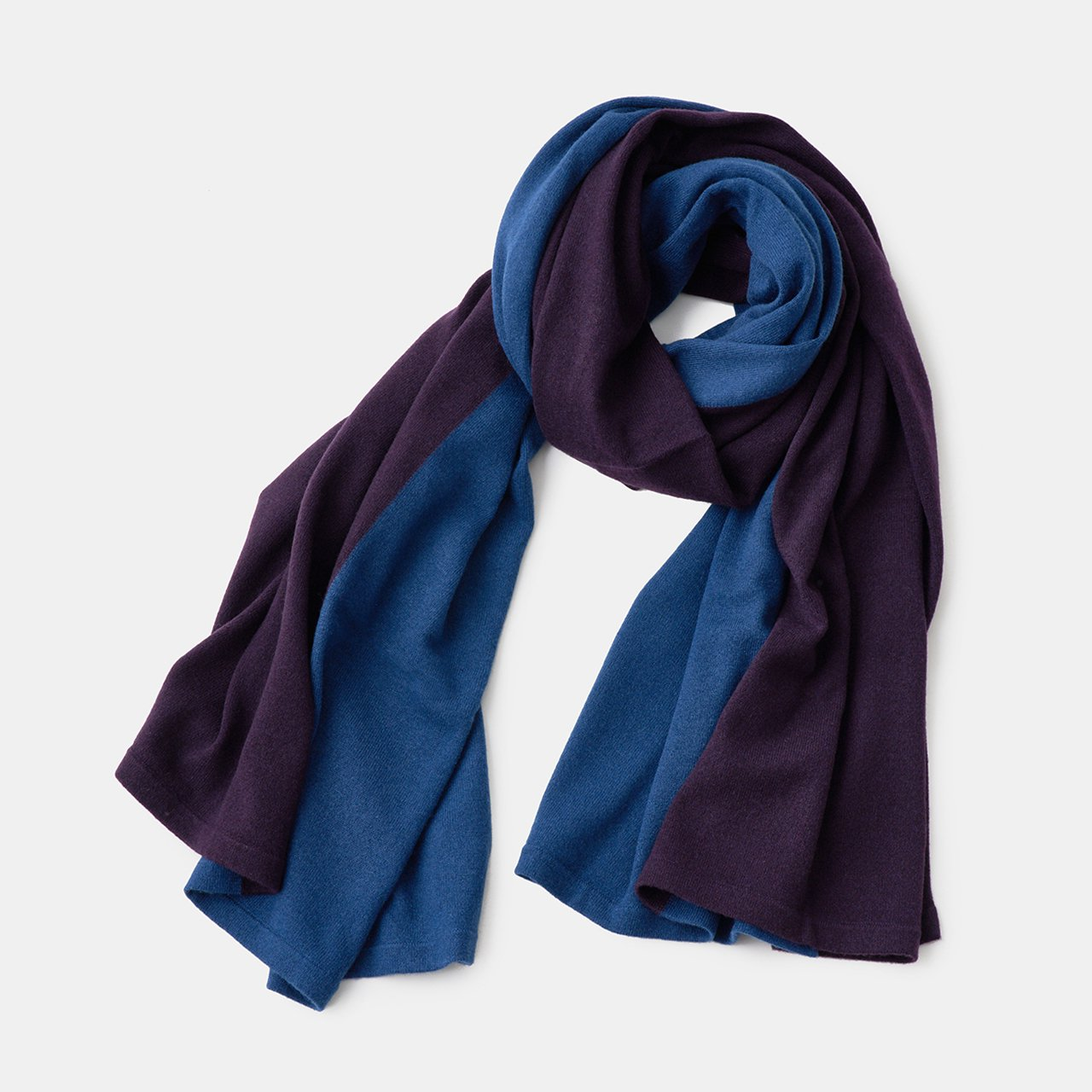 CASHMERE BI‐COLOR STOLE<BR>MIDNIGHT BLUE × VIOLET