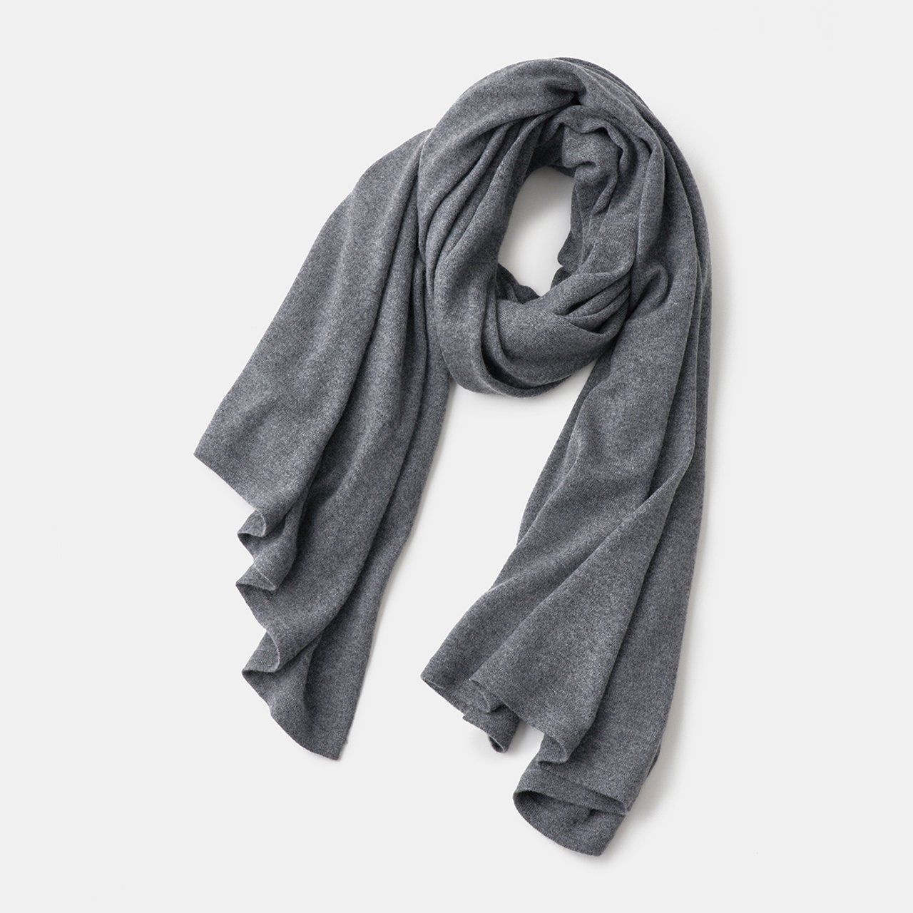 CASHMERE STOLE<BR>CHARCOAL GREY