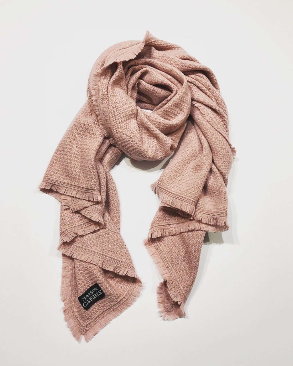 CASHMERE Fringe STOLE<BR>ANTIQUE ROSE