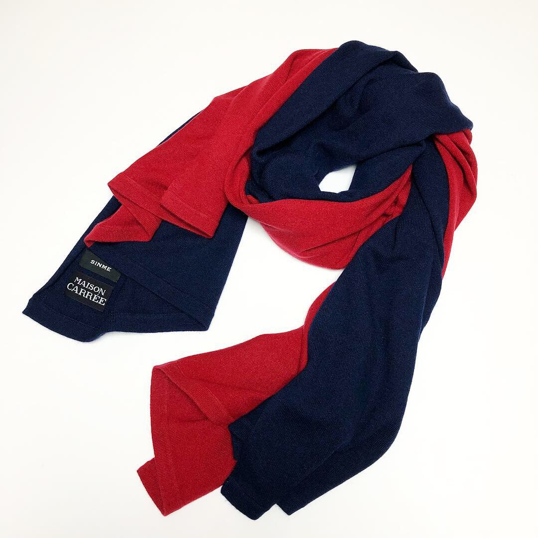 SINME×MAISON CARRÉE<BR>BI-COLOR BASIC STOLE ・ RED×NAVY