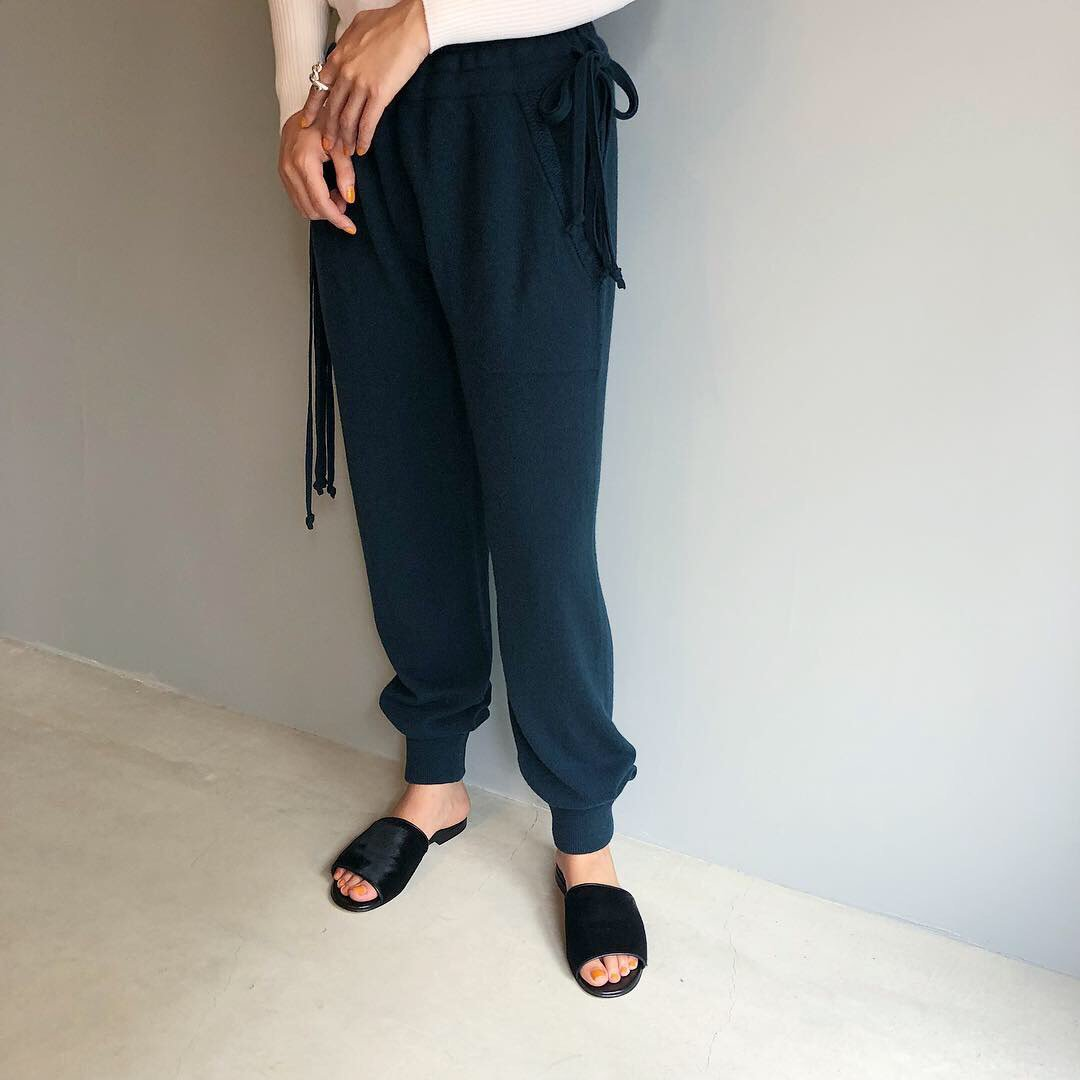 CASHMERE Basic Pants<BR>GREEN