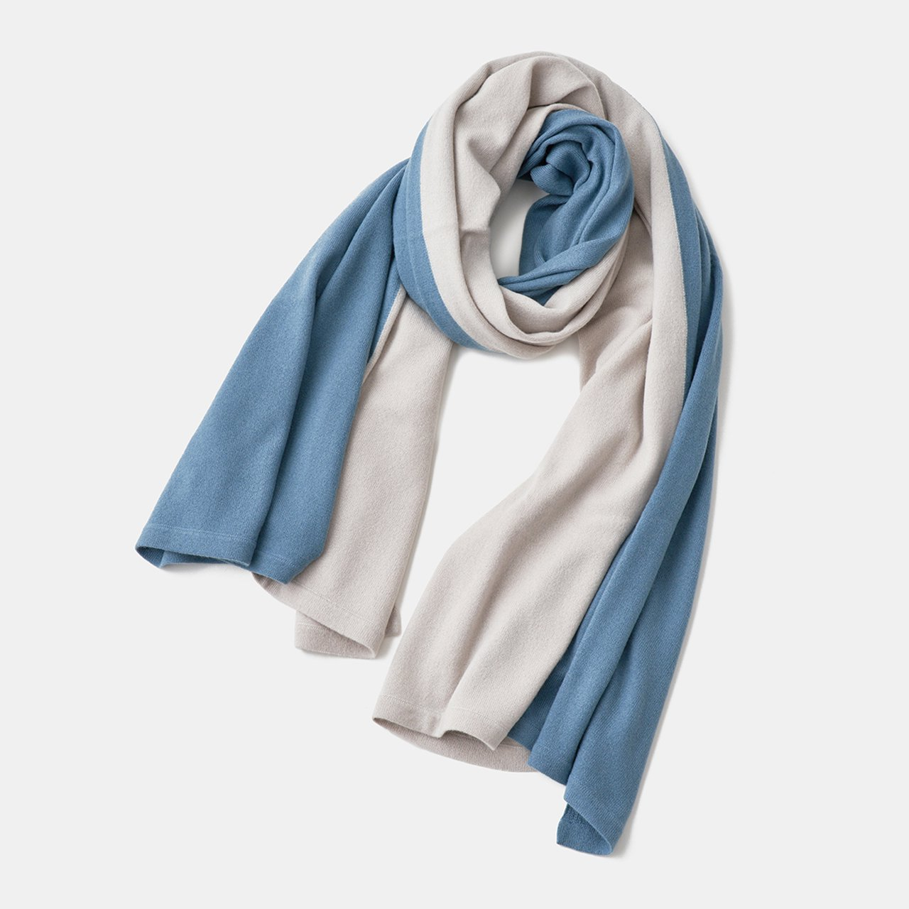 CASHMERE BI‐COLOR STOLE<BR>PALE JUTE × SAX GREY