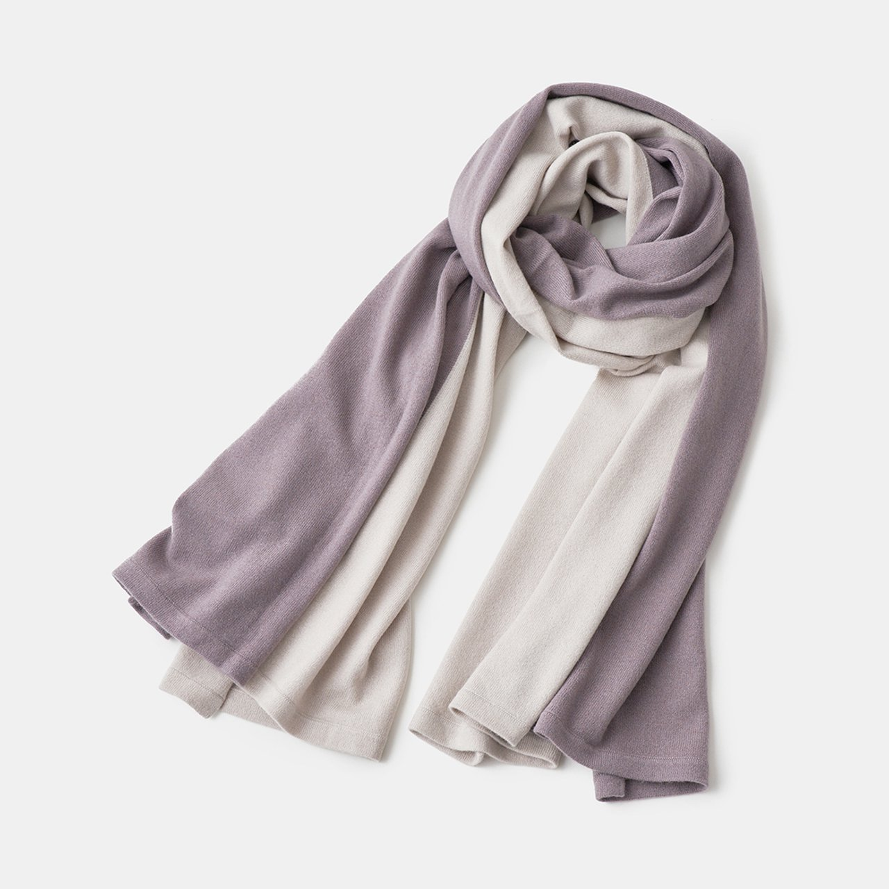 CASHMERE BI‐COLOR STOLE<BR>PALE JUTE × PURPLE GREY