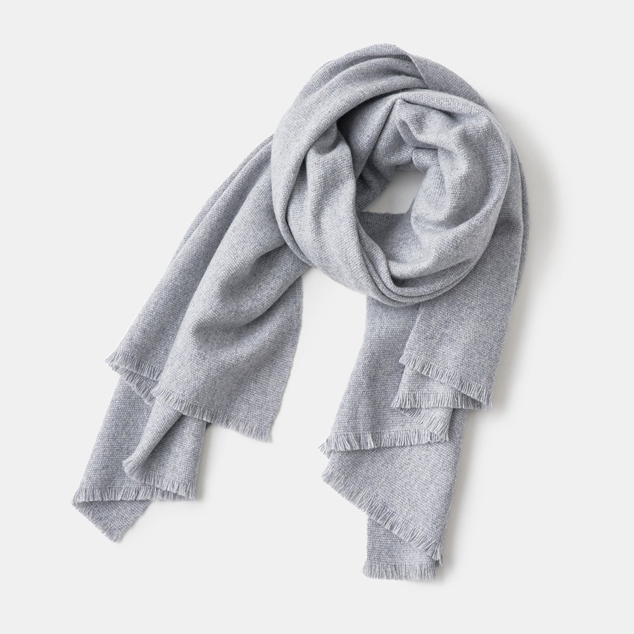 CASHMERE Tisser STOLE<BR>LIGHT GREY