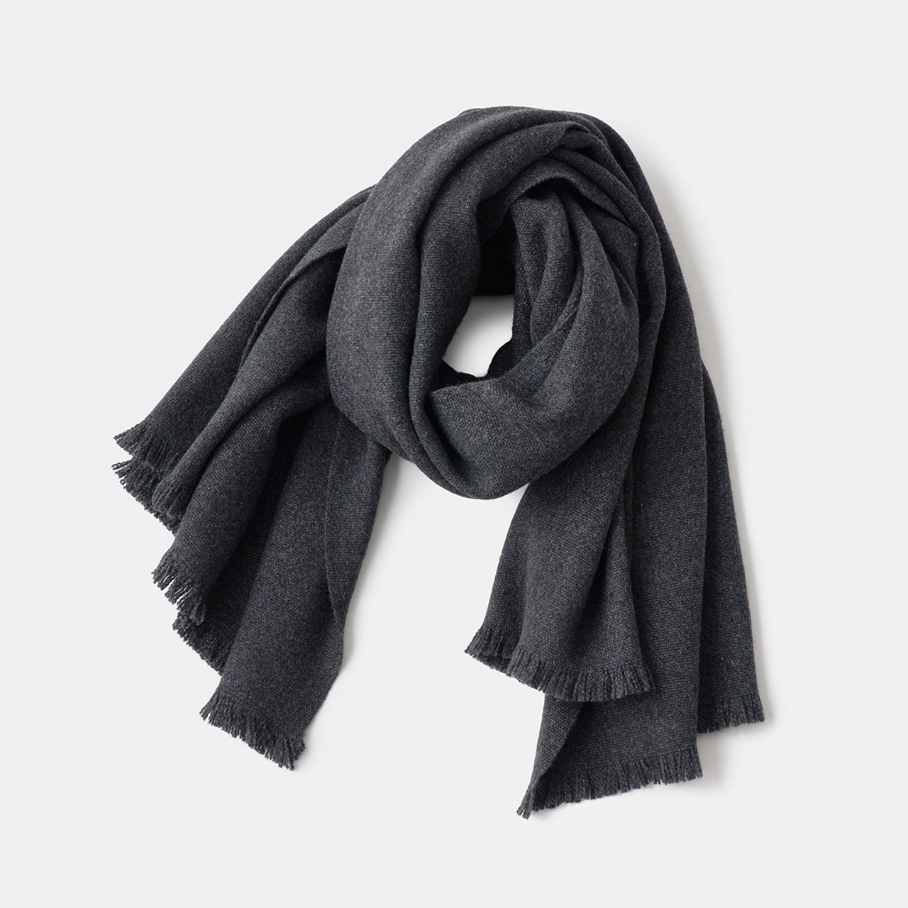 CASHMERE Tisser STOLE<BR>CHARCOAL GREY