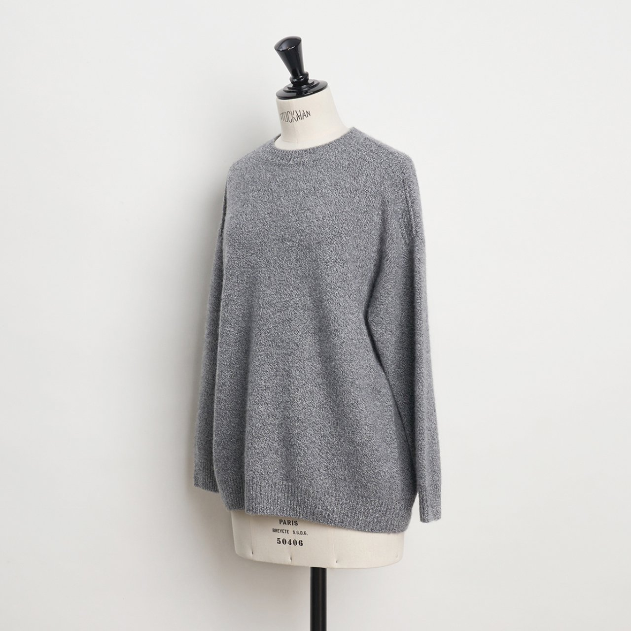 CASHMERE CABLE KNIT<BR>GRAY MELANGE