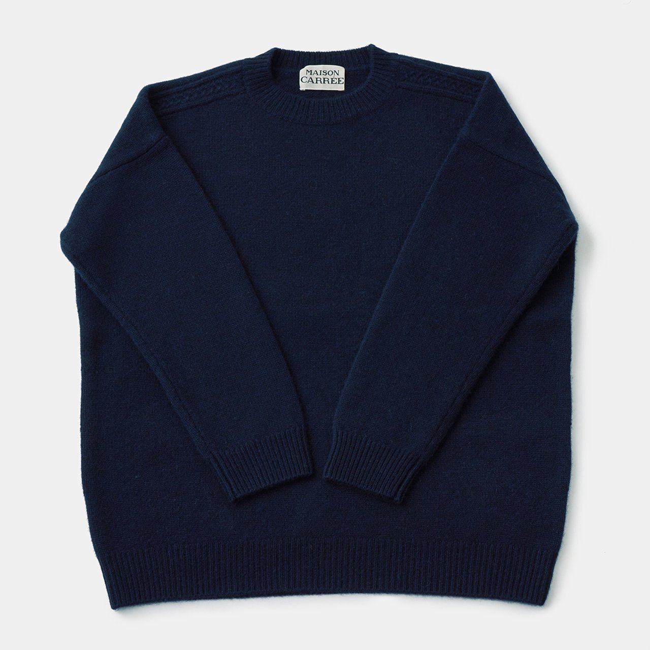 CASHMERE CABLE KNIT<BR>NAVY