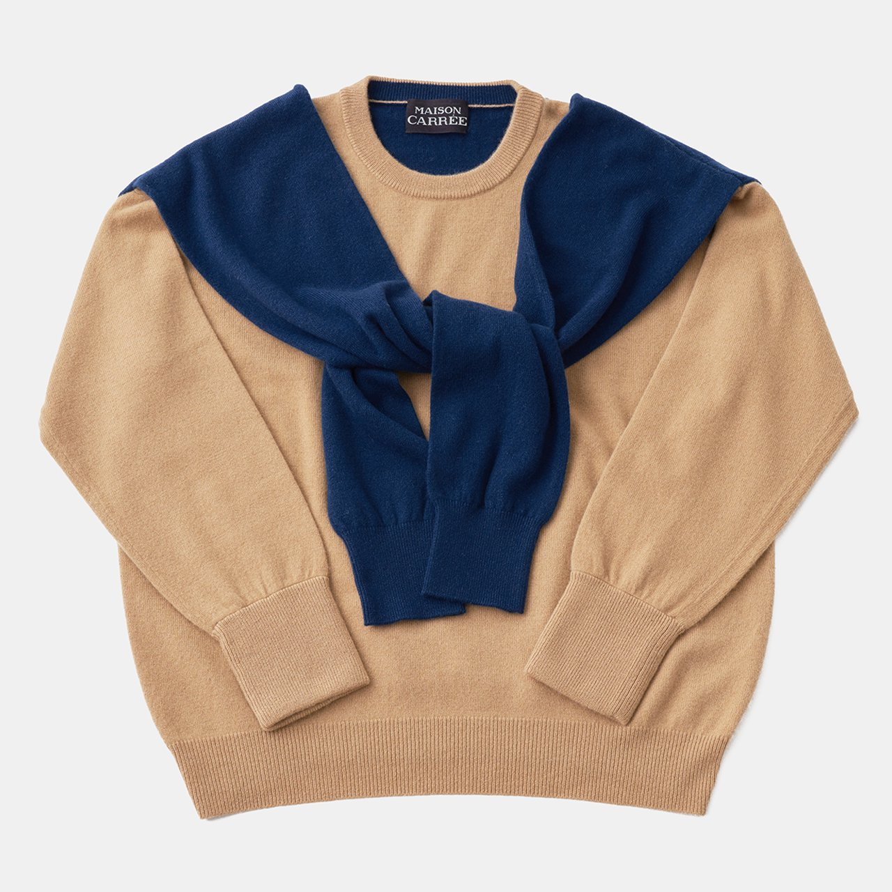 CASHMERE DOUBLE KNIT<BR>BEIGE×BLUE