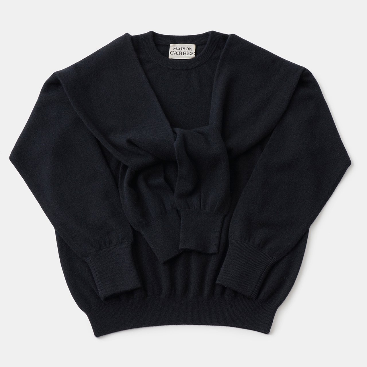 CASHMERE DOUBLE KNIT<BR>BLACK×BLACK