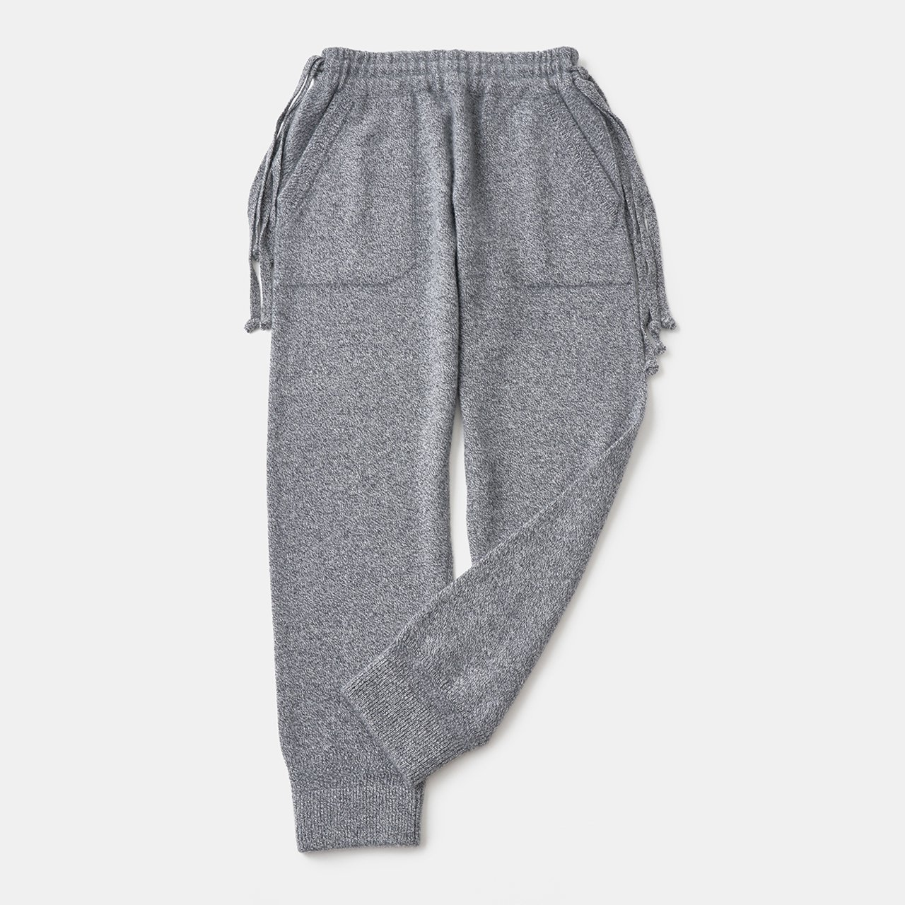 CASHMERE Middle gauge Pants<BR>GREY MELANGE