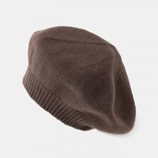 CASHMERE Beret<BR>BROWN