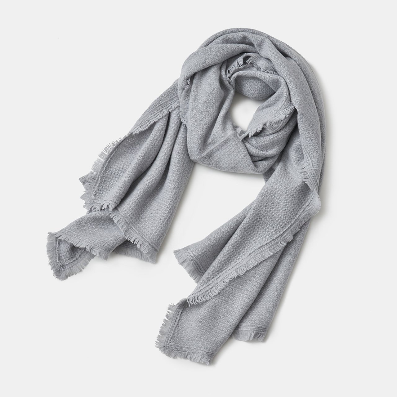CASHMERE Fringe STOLE<BR>LIGHT GRAY