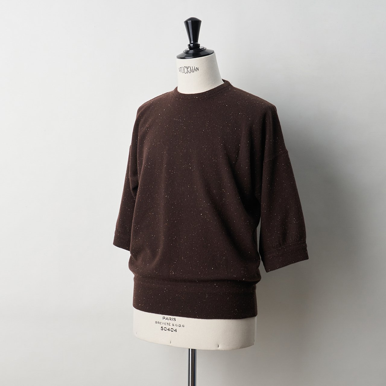 CASHMERE STARDUST BoyFriend TOPS<BR>ALMOND CHOCOLATE