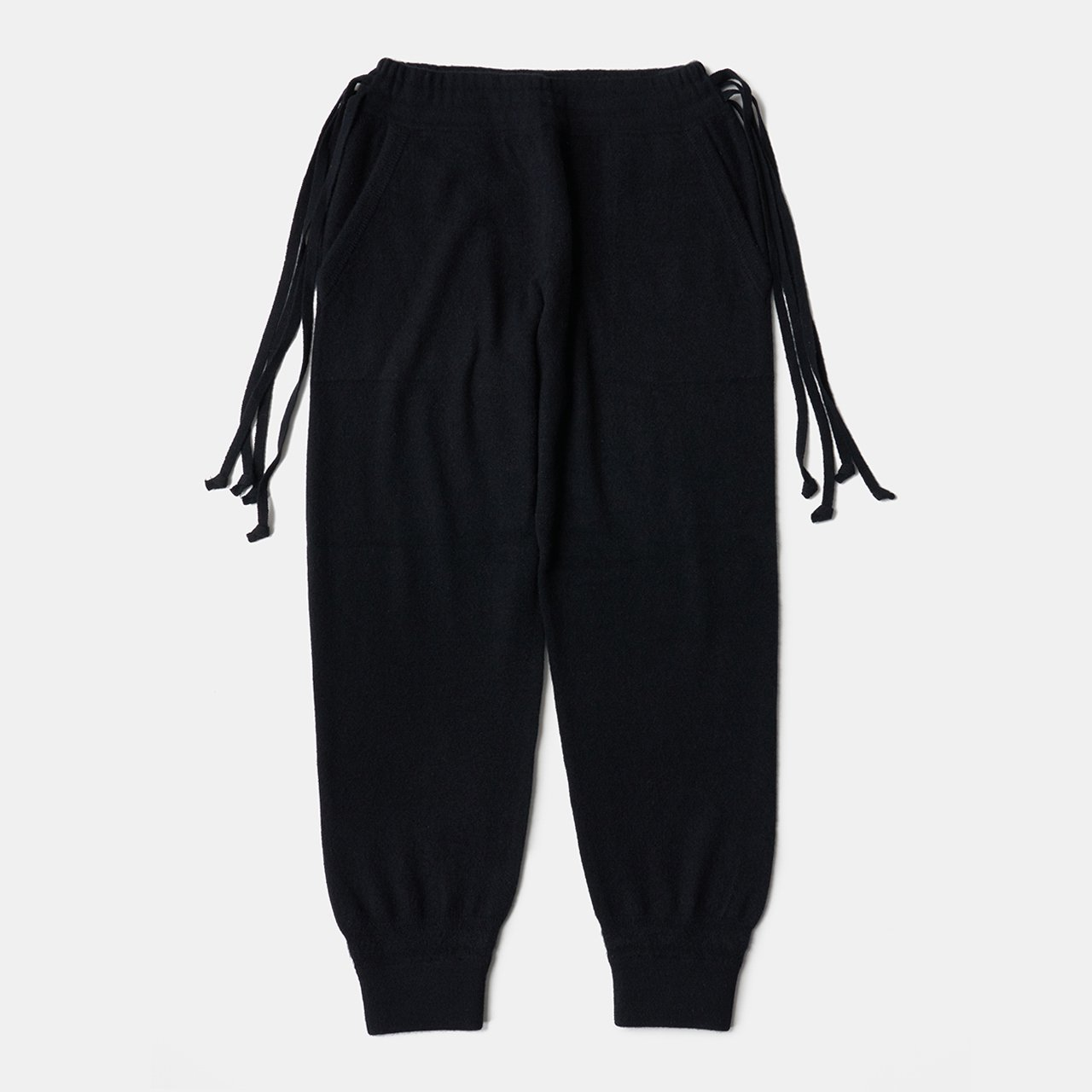 CASHMERE  BASIC BoyFriend PANTS<BR>BLACK