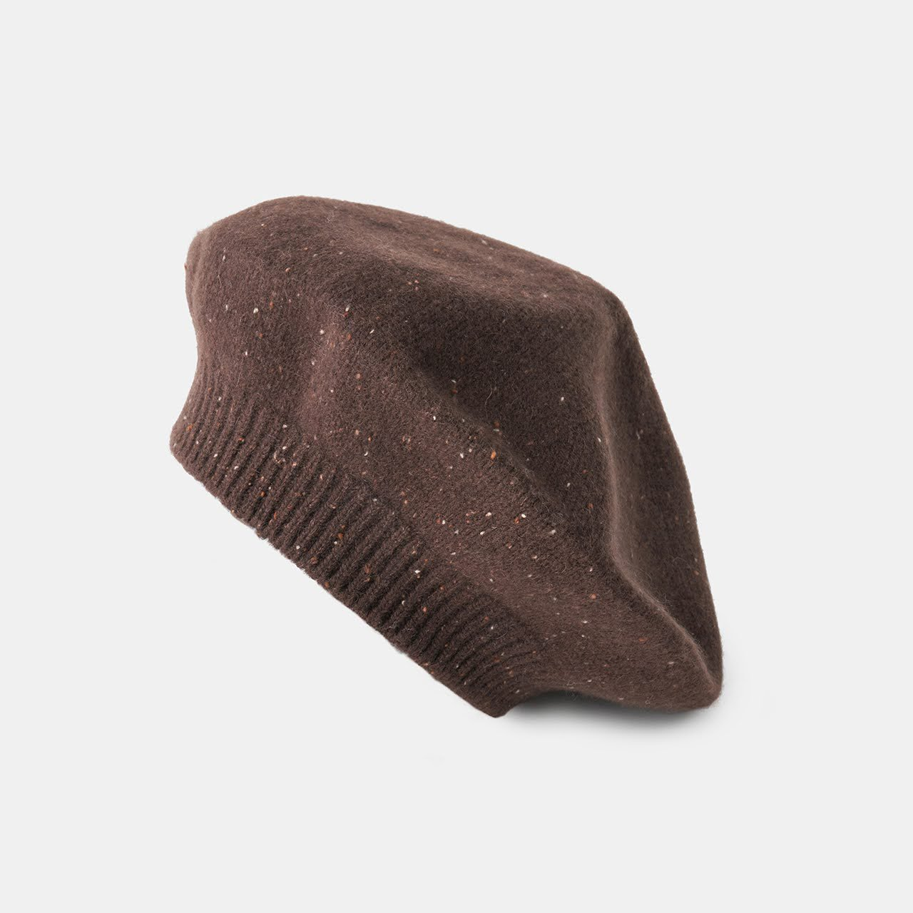 CASHMERE STARDUST BERET<BR>ALMOND CHOCOLATE