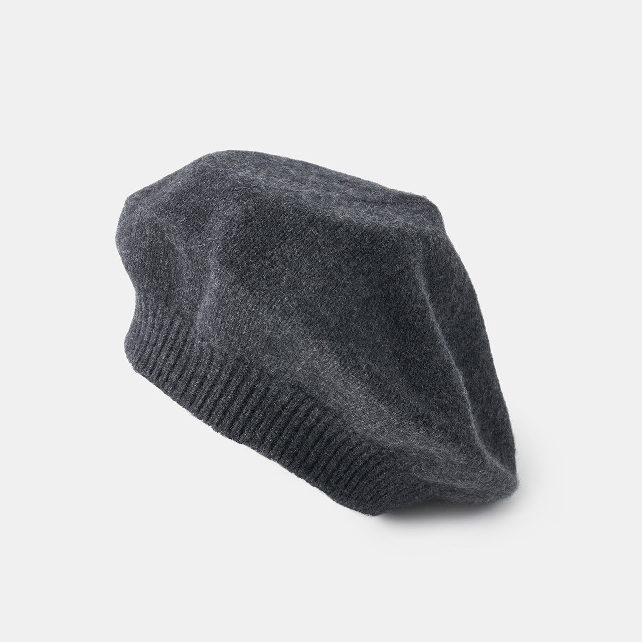 CASHMERE  BERET<BR>CHARCOAL GREY