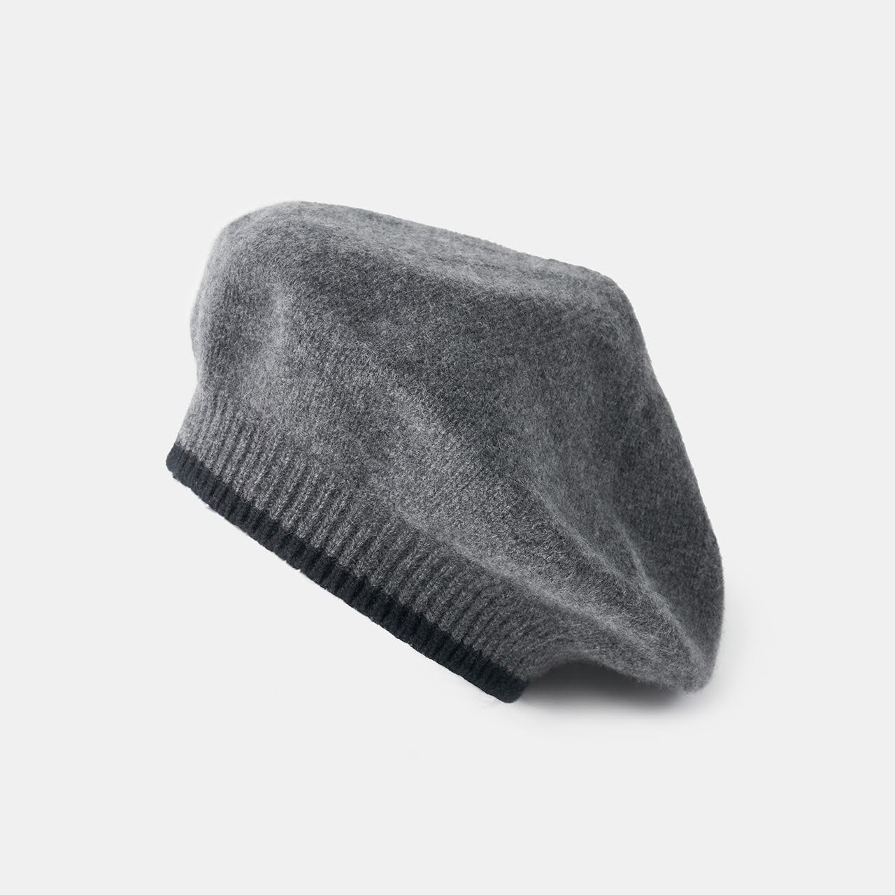 CASHMERE  BERET<BR>GREY×BLACK