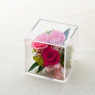 クリアキューブBOX (バラ3本) ピンク