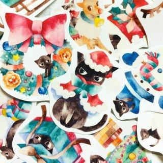 黒猫×クリスマス フレークシール