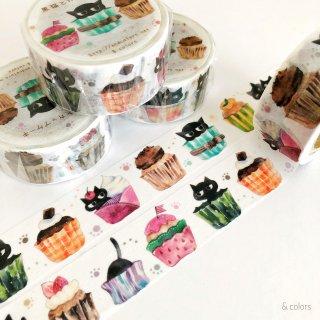 【12日22時〜】黒猫とカップケーキ マスキングテープ