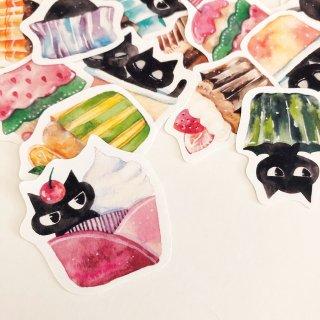 黒猫とカップケーキ フレークシール