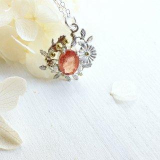 桜色トルマリン 雛菊のネックレス