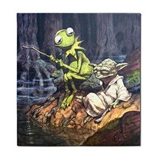 スター・ウォーズ/ザ・マペッツ ヨーダ&カーミット キャンバスアート 緑でいるのも楽じゃない