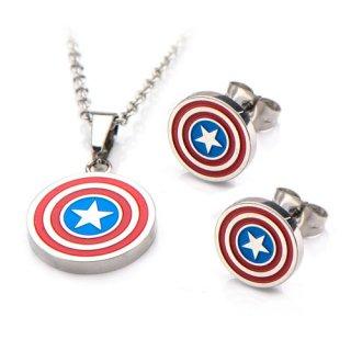 マーベル キャプテン・アメリカ シールド ロゴ ネックレス&ピアスセット MARVEL