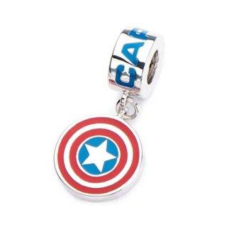 マーベル キャプテン・アメリカ シールド ロゴ 925シルバー カラーダングルチャーム MARVEL