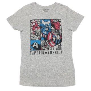 マーベル キャプテン・アメリカ Comic Panel レディースTシャツ MARVEL