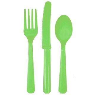 カトラリーセット 24本セット ライムグリーン プラスチック食器 スプーン・フォーク・ナイフ 3種8人分 ホームパーティー amscan