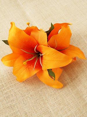 カサブランカヘアクリップ(オレンジ)
