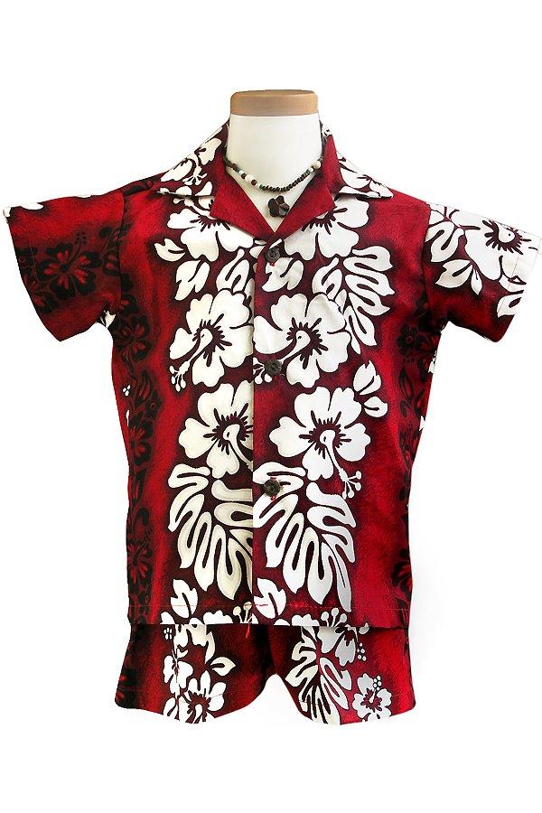 Boysアロハシャツスーツ(ハイビスカス・レッド)