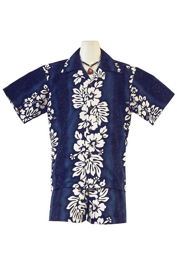 Boysアロハシャツスーツ(ハイビスカス・ネイビー)