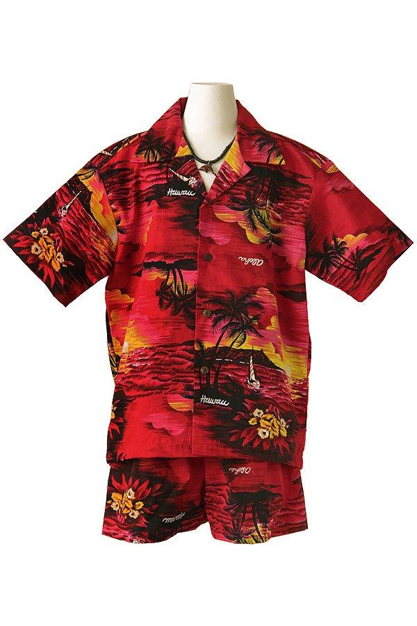 Boysアロハシャツスーツ(ハワイアン・レッド)