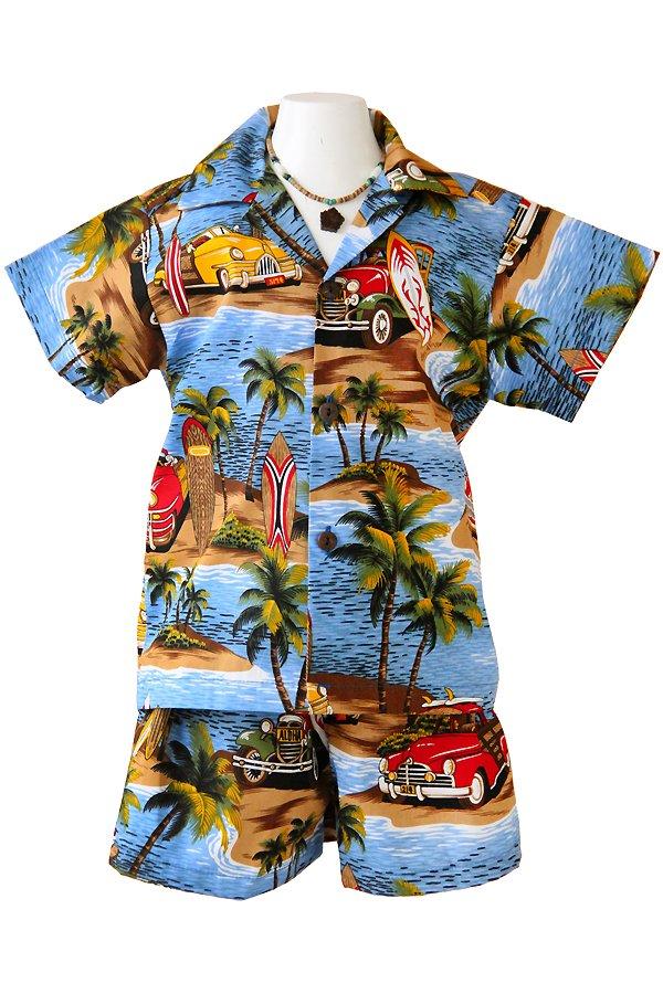 Boysアロハシャツスーツ(ワイメアビーチ・ブルー)