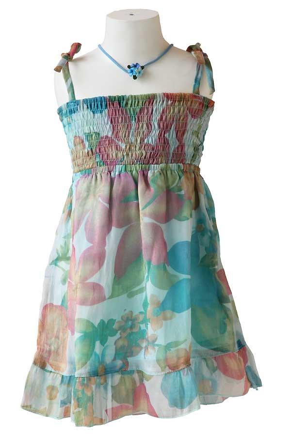Girlsハワイアン・シフォンキャミドレス(モハル・エメラルド)