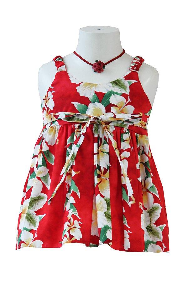 Girlsアロハエラスティックドレス(アロアロ・レッド)