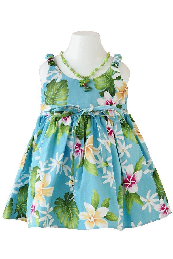 Girlsアロハエラスティックドレス(リヒリヒ・ブルー)