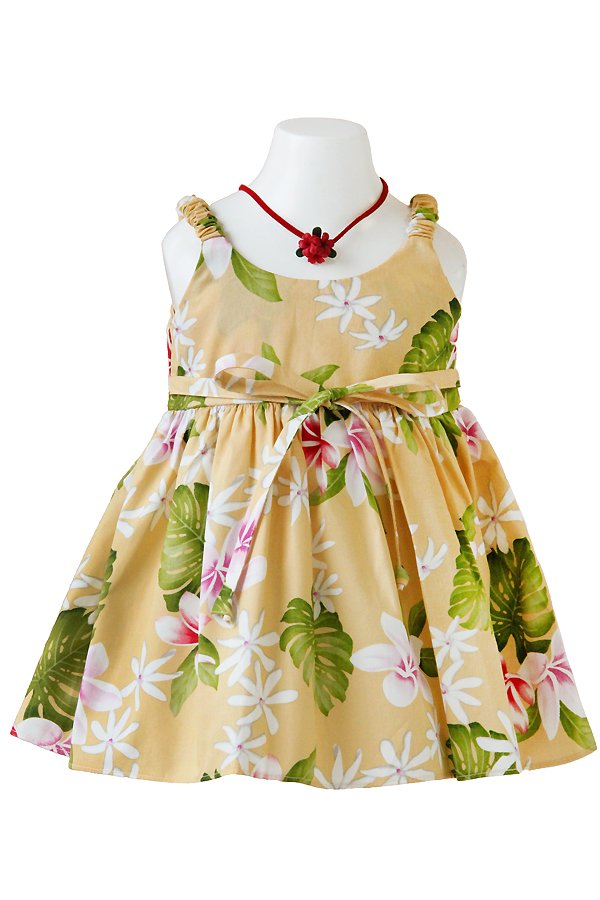 Girlsアロハエラスティックドレス(リヒリヒ・イエロー)