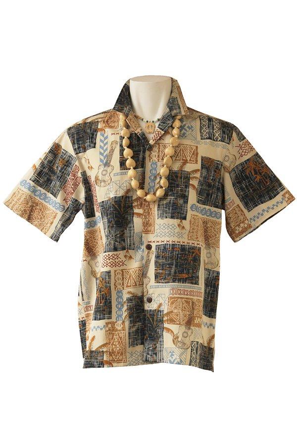 メンズアロハシャツ(ポリナヘ・ホワイトベージュ)