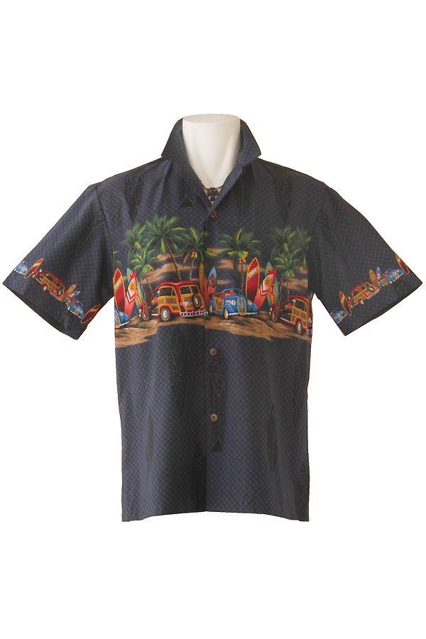 メンズアロハシャツ(クラシック・ダークブルー)
