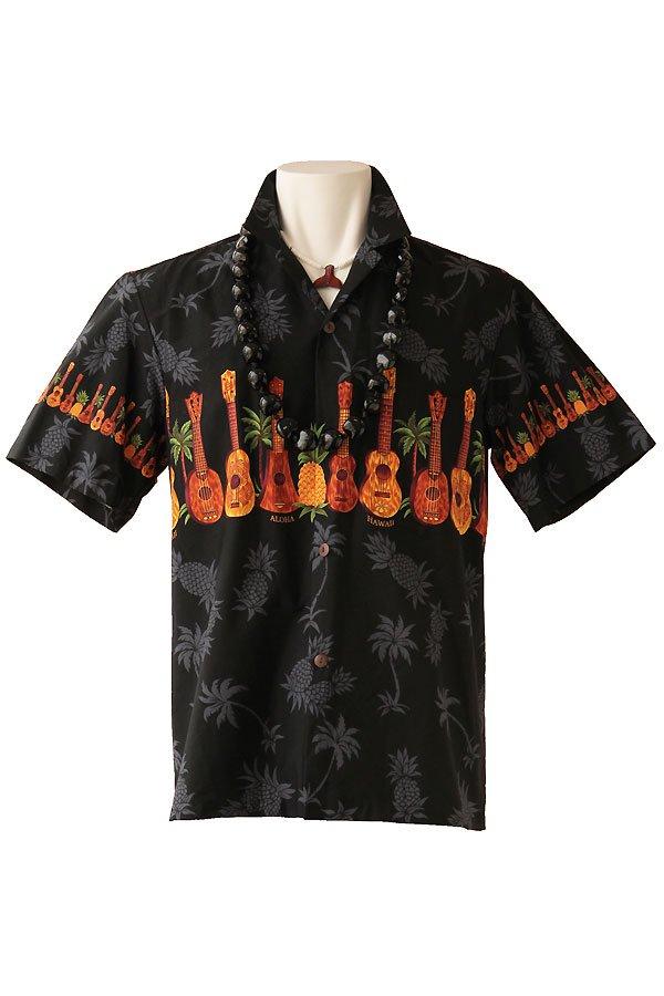 メンズアロハシャツ(ウクレレ・ブラック)