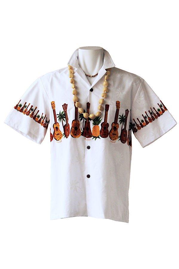メンズアロハシャツ(ウクレレ・ホワイト)