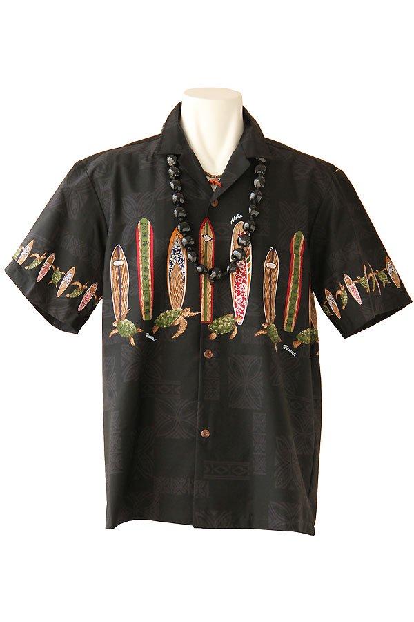 メンズアロハシャツ(ホヌサーフ・ブラック)