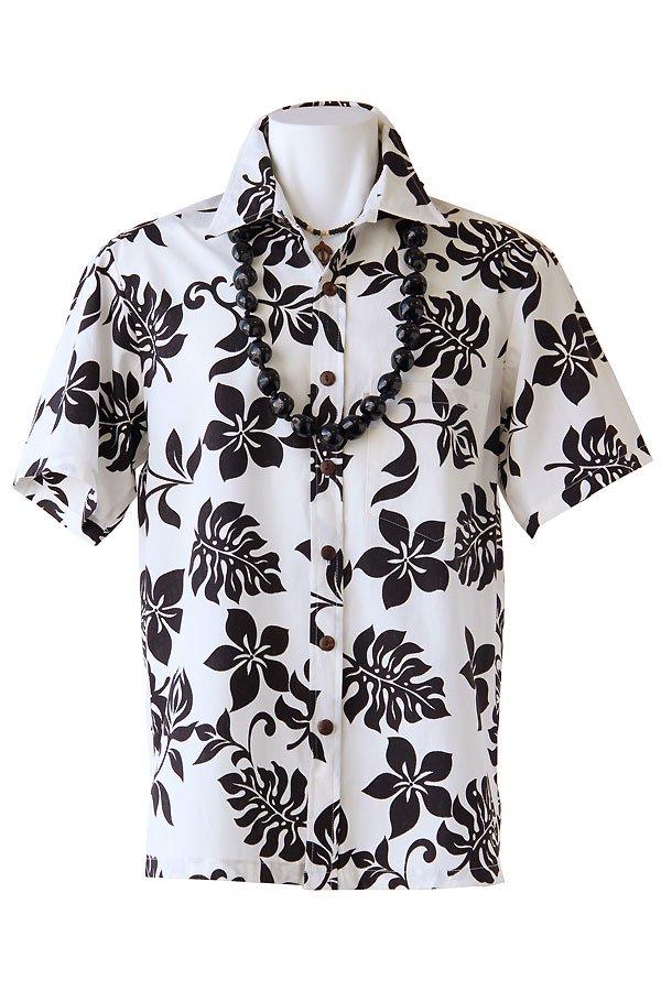 メンズアロハシャツ(メリア・ホワイトブラック)
